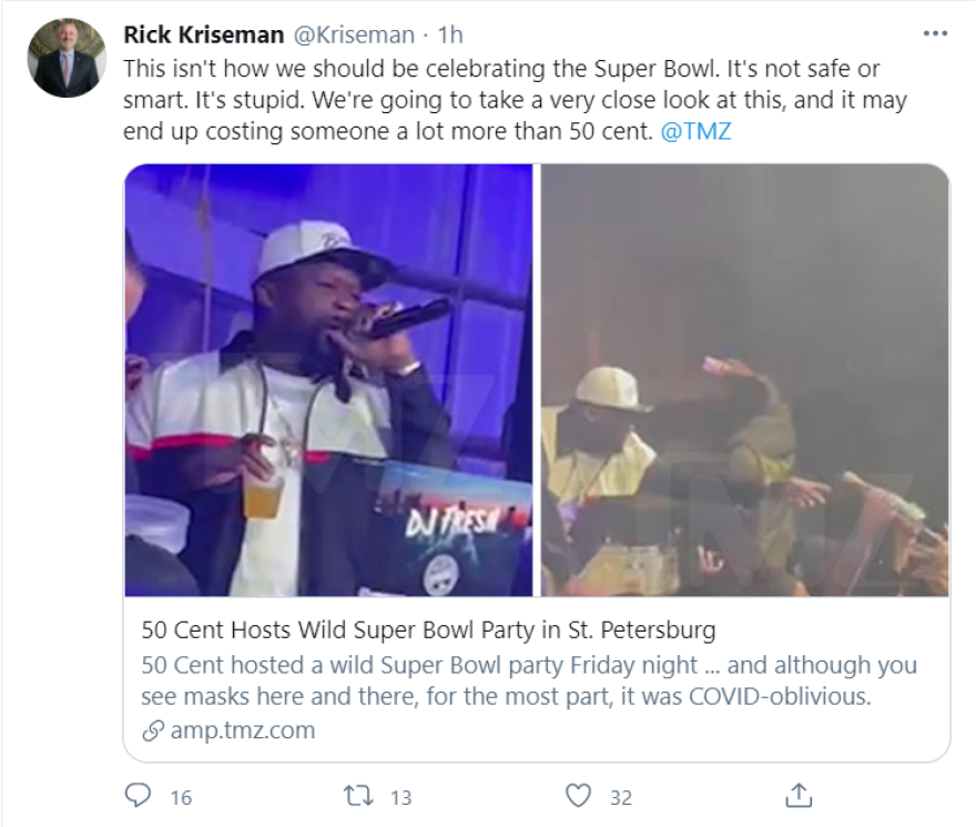 Image of social media post about a Super Bowl Party