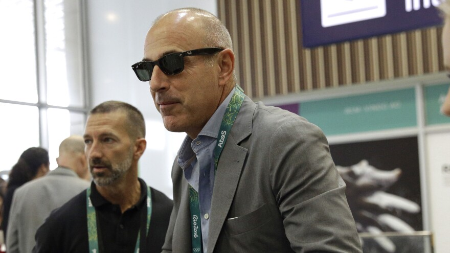 """Former NBC TV host Matt Lauer says,""""Repairing the damage will take a lot of time and soul searching,"""" after he was fired over allegations of sexual misconduct. He's seen here arriving at Rio de Janeiro International Airport for the 2016 Olympics last year."""
