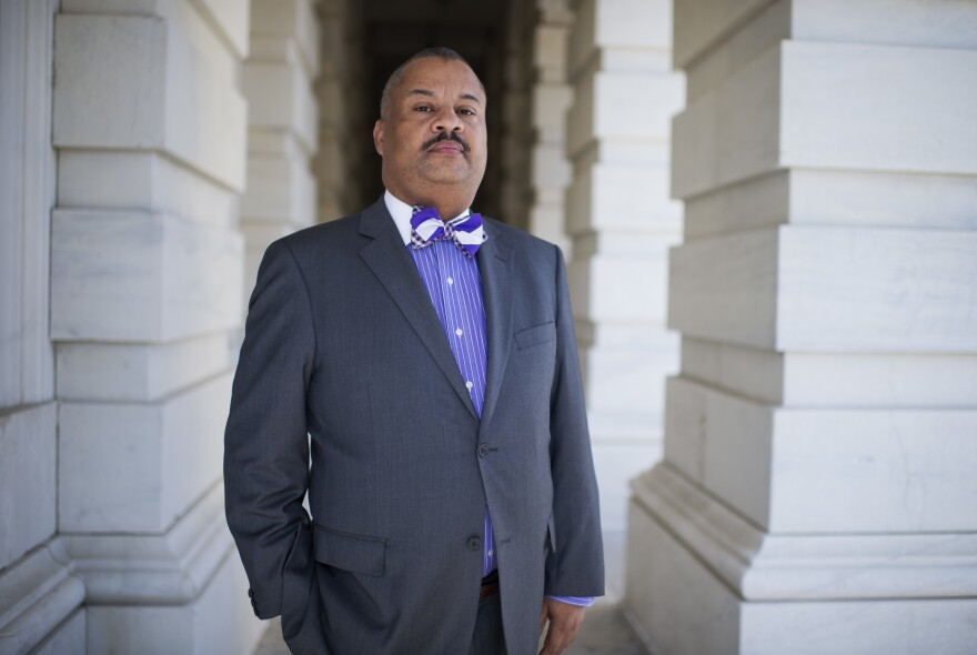 Rep. Donald Payne Jr., then a candidate for Congress, is photographed outside of the U.S. Capitol in October 2012.