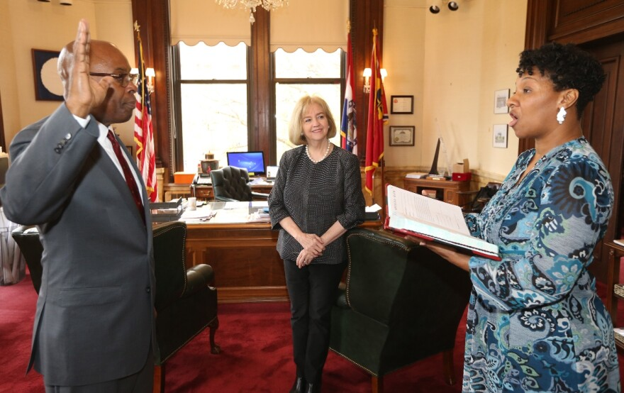 Former St. Louis circuit judge Jimmie Edwards is sworn in as the city's new public safety director on Nov. 6, 2017.