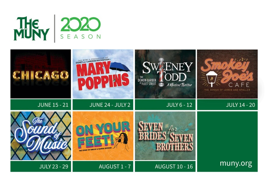 "The Muny's 2020 season kicks off on June 15 with ""Chicago"" and concludes with ""Seven Brides for Seven Brothers"" on Aug. 16. 