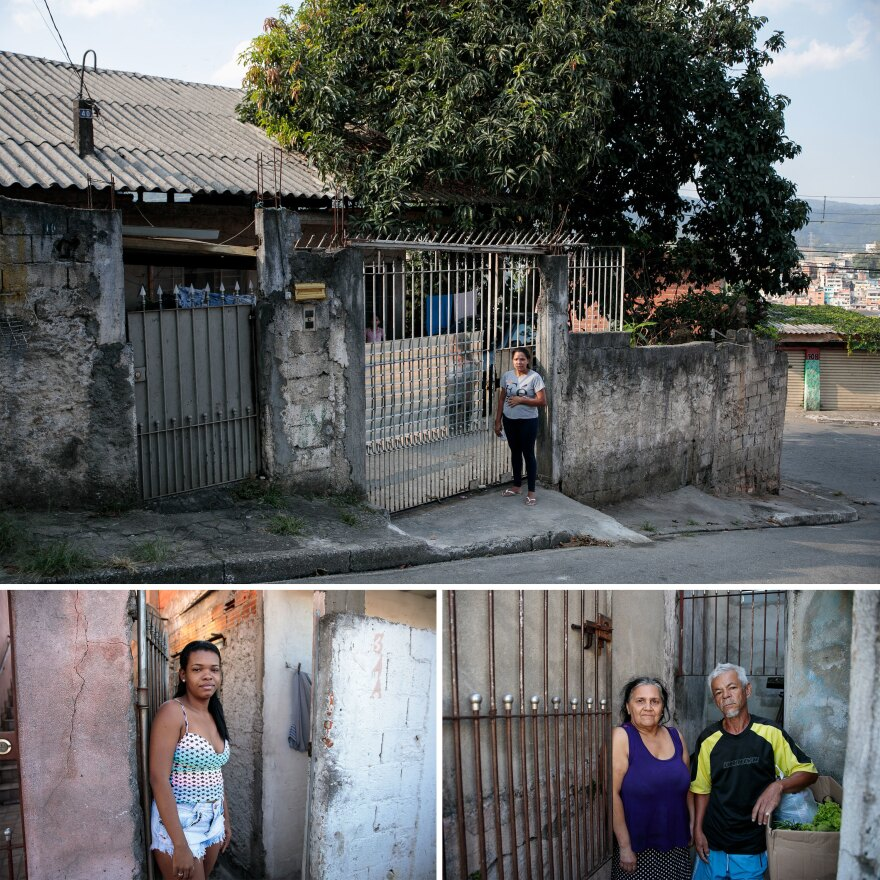 For many in the favelas, hunger is a threat as real as COVID-19. To help out, Pertim, a farmers' network, donates boxes of food. Top: Irani Cristina lost an internship that helped pay for college. Left: Hanna Tatielli is unemployed and lives with her 10-month-old baby and her sister. Right: Maria Benedita Bezerra Lima and her husband, Gonçalo Malaquias Lima, lost work due to the lockdown.
