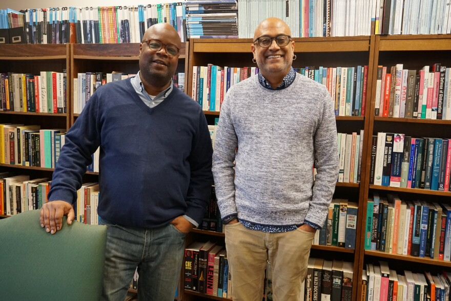 Harris-Stowe's Social Science Department Chair Andre Smith (L) and the university's Dean of the College of Arts and Sciences Sudarsan Kant (R) co-authored an article about Harris-Stowe's funding and the paradox of state funding for Howard University's Jo