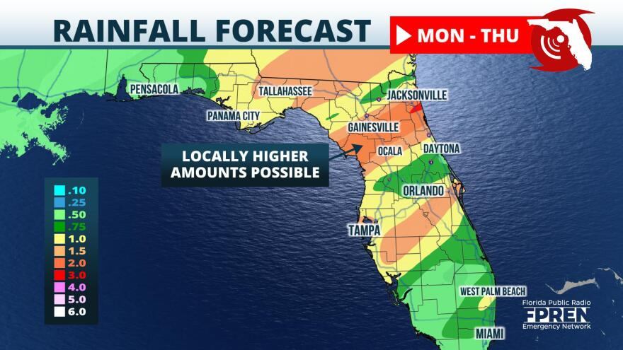 Projected rainfall through Thursday across Florida.