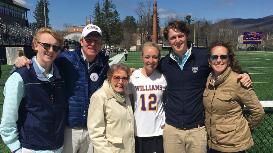 Mary Langenberg, with family, on one of the last trips she took. From left are Finn Polk (grandson), Bill Polk Jr., (son) Mary Booth Langenberg, Olivia Polk (granddaughter). Jack Polk (grandson) and Carrie Polk (daughter in law) at Williams College.