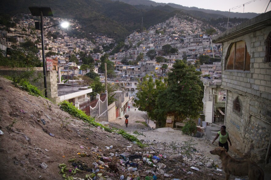 """Evening in Campeche, a neighborhood that sits in the hills of Port-au-Prince. The neighborhood is part of a $24 million project the Red Cross has designated for a """"physical renewal."""""""