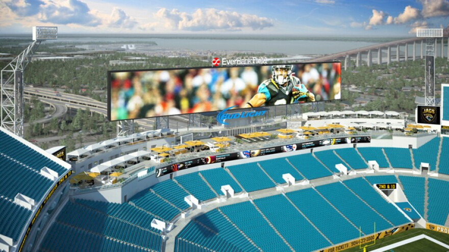 Hi, Mom! EverBank Field, home of the Jacksonville Jaguars, recently installed a massive video display. This artist's rendering previews the giant screen, which will be unveiled on Saturday.