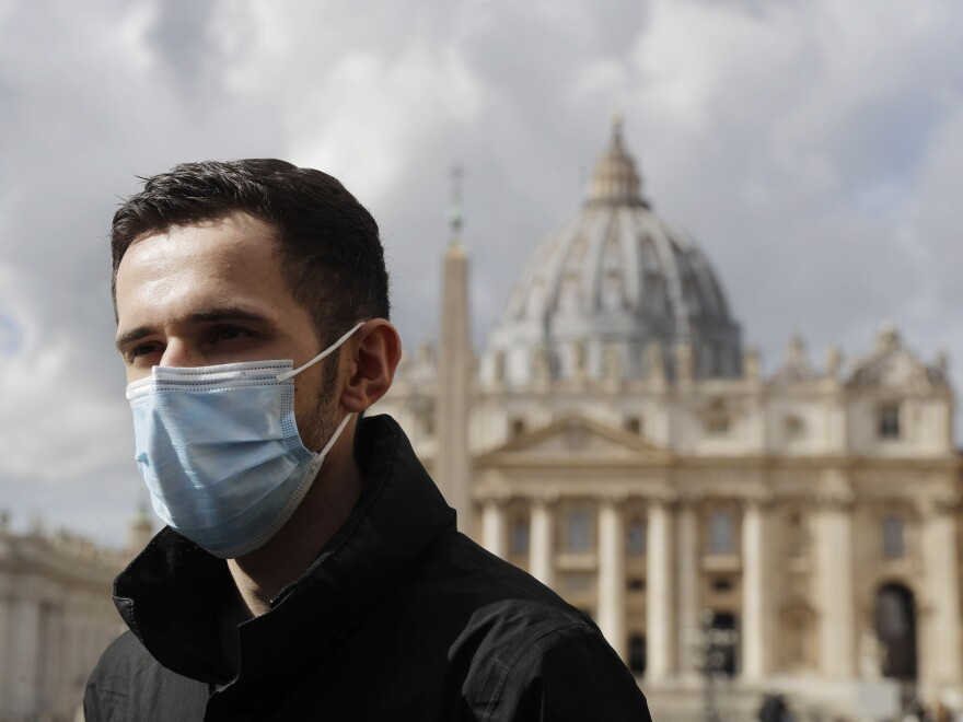 "Whistleblower Kamil Jarzembowski meets journalists outside St. Peter's Square at the Vatican, on Oct. 14. He reported the abuse to Roman Catholic Church authorities in 2012. In 2017, he went public. ""I saw my roommate being abused by another seminarian,"" he told an Italian TV investigative program. ""I was scared, I didn't understand, it was the first time I saw two people having sex."""
