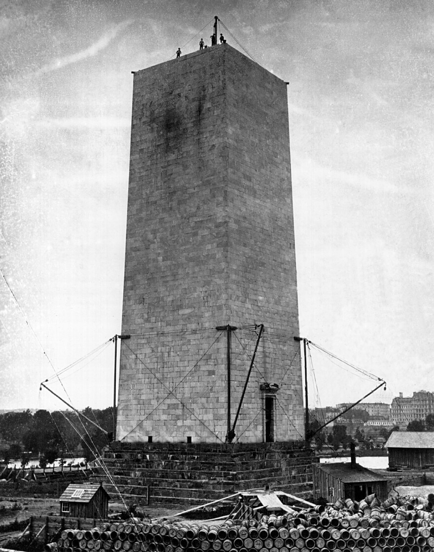 The Washington Monument is under construction in 1899 in Washington, D.C.