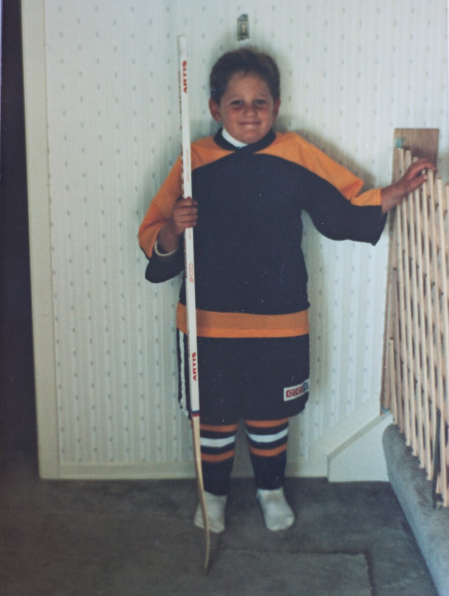 Boogaard, dressed for his first day of hockey.
