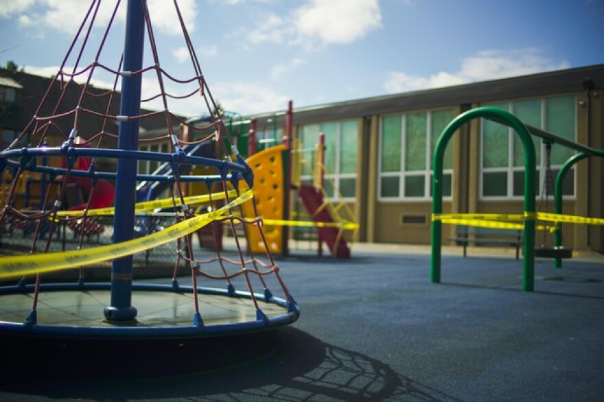 A closed playground at The Madeleine Elementary School in northeast Portland, March 21, 2020.