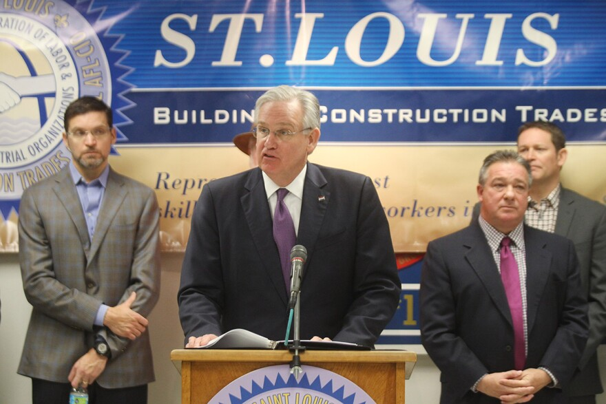 Gov. Jay Nixon speaks on Thursday at St. Louis Building Trades headquarters in south St. Louis. Labor unions agreed to work 24-hour shifts with no overtime to build a riverfront stadium in St. Louis.