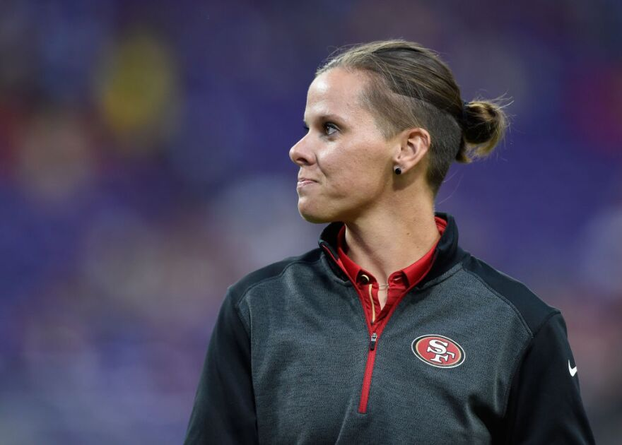 Assistant coach Katie Sowers of the San Francisco 49ers looks on before the preseason game against the Minnesota Vikings on August 27, 2017. (Hannah Foslien/Getty Images)