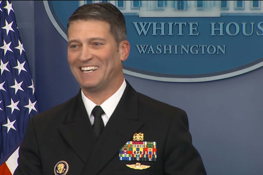 Dr. Ronny Jackson, seen here at a January 2018 White House press conference, is President Trump's nominee to head the Department of Veterans Affairs.