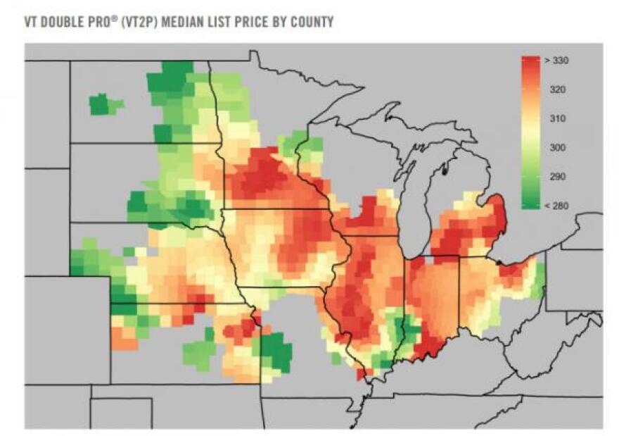 This map shows Farmers Business Network's estimated seed prices by county for a particular type of Bayer seeds.