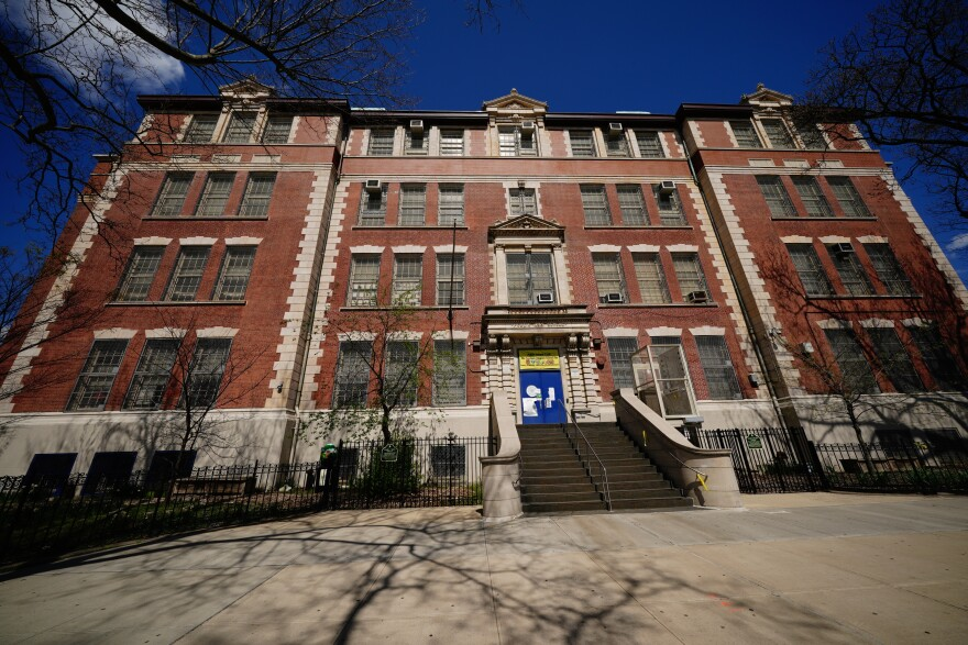 A view of the Suydam Magnet School for STEAM, in Brooklyn, N.Y. On Saturday, New York City Mayor Bill de Blasio announced the city's public schools would remain closed through the end of the academic year.