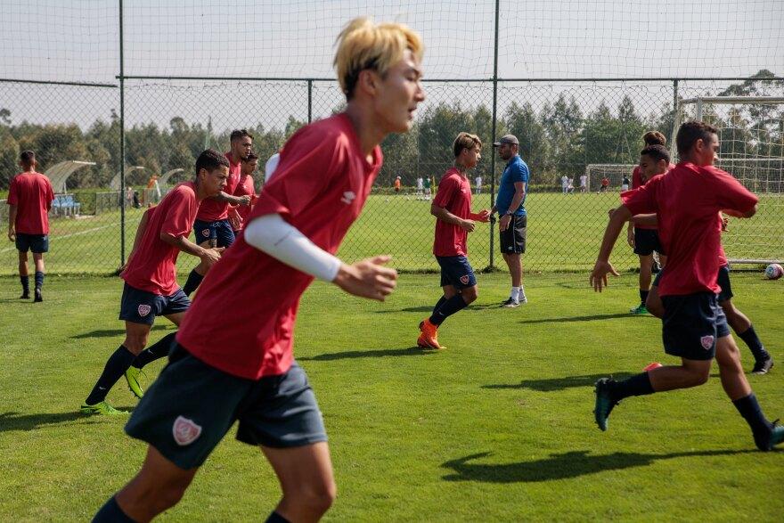 Brazilian and Chinese players practice at the Desportivo Brasil academy, in Porto Feliz, Brazil, in September.