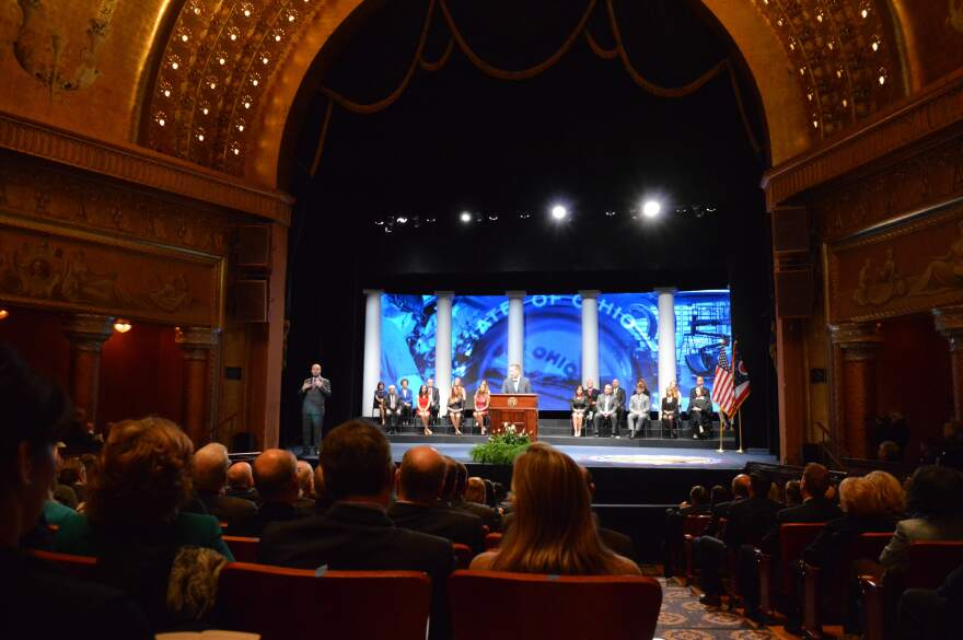 Gov. John Kasich held both his public inaugurations in the Ohio Theatre across the street from the Statehouse. His second inauguration in January 2015 featured a highly-produced video and a choir.
