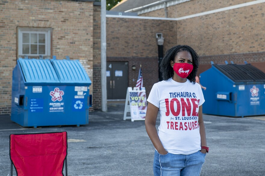 Democratic St. Louis treasurer candidate Tishaura Jones canvassing outside the Ward 13 precinct the morning of the primary on Aug. 4. The incumbent faces a party challenge from Jeffery Boyd.