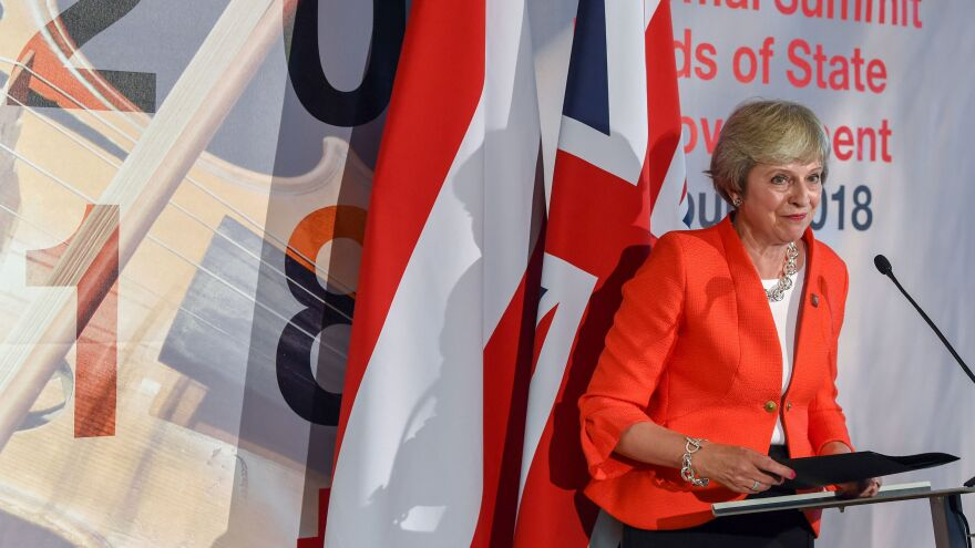 British Prime Minister Theresa May addresses a press conference at the end of the EU Informal Summit of Heads of State or Government at the Mozarteum University in Salzburg, Austria, on Thursday.