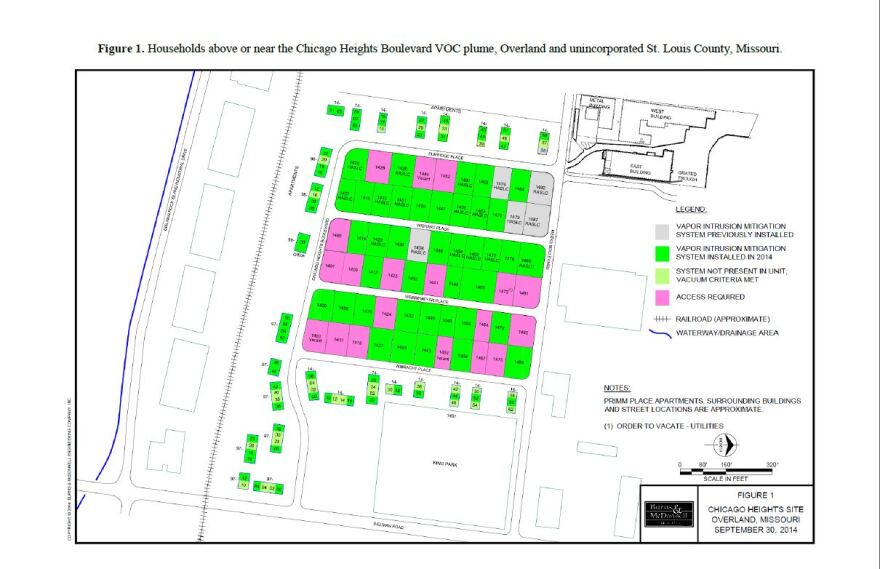 This diagram shows which households in Elmwood Park have had vapor removal systems installed. They are available to residents living west of Dielman Road, free of charge (note that north is to the right in this diagram).