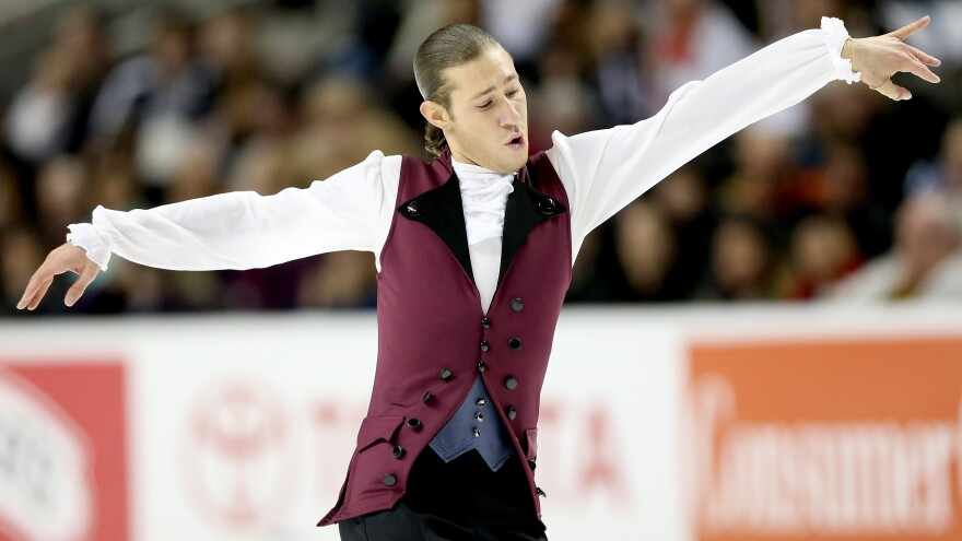Jason Brown competed in the men's short program during the 2018 U.S. Figure Skating Championships in San Jose, Calif., with a song from <em>Hamilton,</em> the musical.