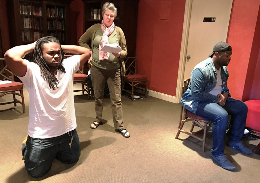 A scene from What's In a Name by Tarell Alvin McCraney featuring Joel Beard, Theresa Masters and Noble Montgomery