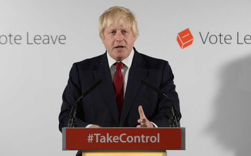 Boris Johnson, a former mayor of London and a strong proponent for Britain's departure from the EU, holds a press conference at Vote Leave headquarters in London on Friday. Johnson is considered a leading contender to replace Prime Minister David Cameron, who announced Friday that he will be stepping down by October.