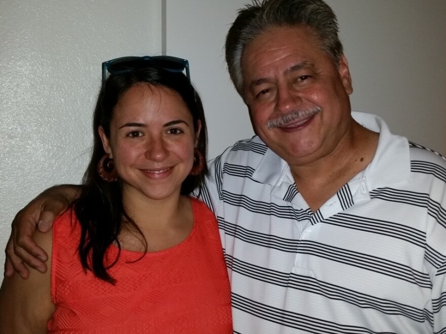 Kristin Urquiza and her father, Mark, at a family celebration in Phoenix in 2016. After her father's death on June 30, Urquiza co-founded a group for grieving family members, Marked By COVID.