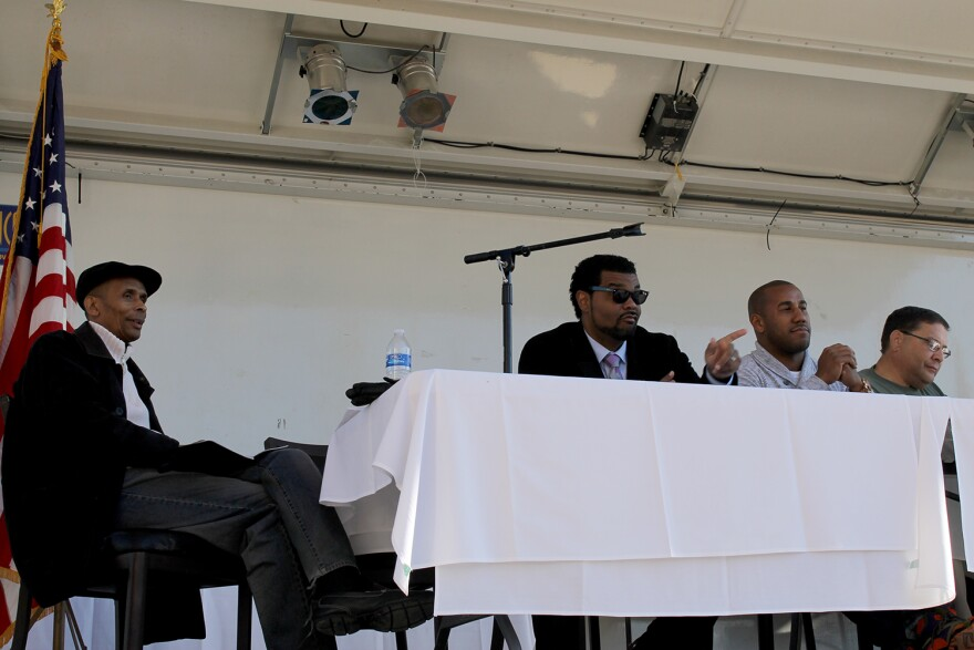 Aldermen Terry Kennedy, Antonio French, Chris Carter and Joe Vacarro listen to public testimony about the proposed stadium Sat. Nov. !4, 2015 at an outdoor venue in the stadium footprint.