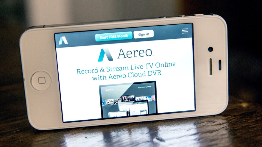 Aereo.com, a Web service that provides television shows online, is shown on an iPhone on April 22. The Supreme Court ruled that the service violates copyright law.