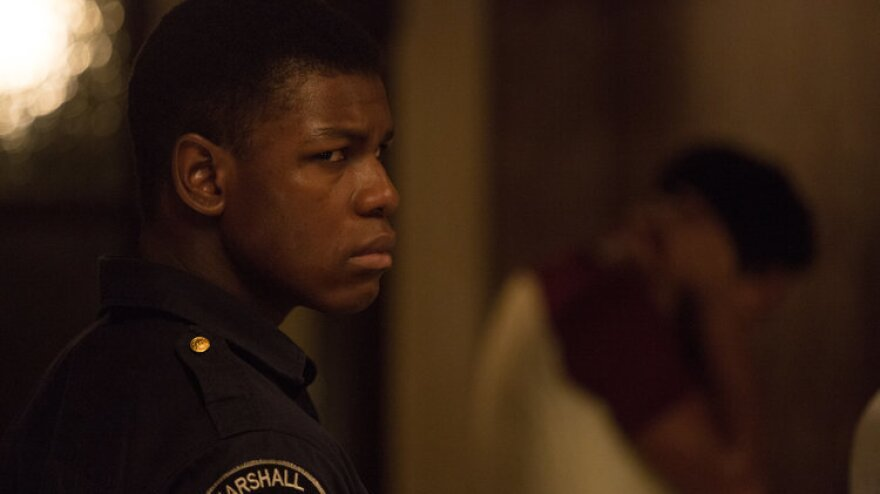 John Boyega plays security guard Melvin Dismukes in <em>Detroit.</em>