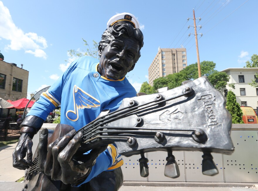 The Chuck Berry statue in University City now wears a St. Louis Blues sweater. The Blues are celebrating their first-ever Stanley Cup victory after defeating the Boston Bruins in Game 7 of the Stanley Cup finals on Wednesday. June 12, 2019