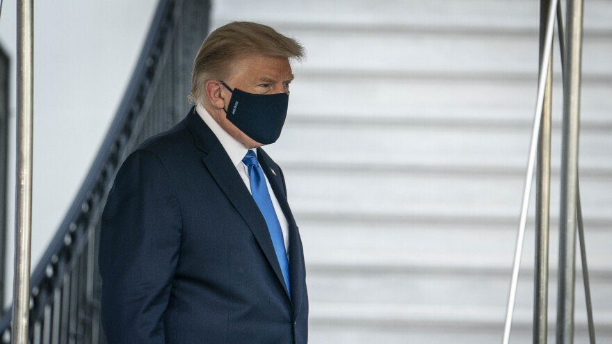 President Trump walks to the South Lawn of the White House before boarding Marine One in Washington, D.C., U.S., on Friday. Mary Trump says Donald and Fred Trump viewed getting sick as a sign of weakness.