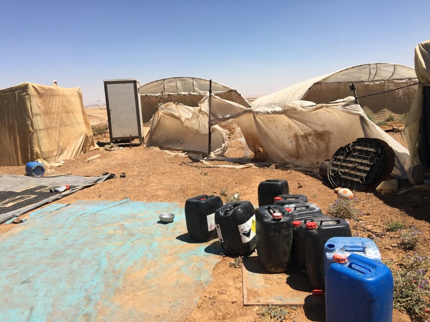 The Salehs' home near the fields where they pick vegetables. They moved here with other relatives after the tent fire that killed four of their children in June at another encampment a few miles away, on the outskirts of Amman.