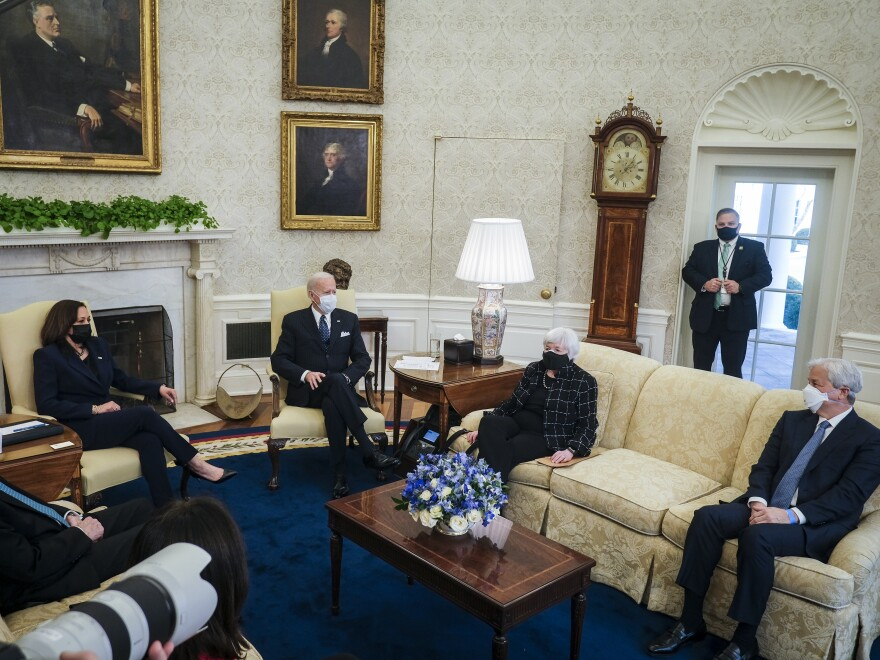 President Biden, meeting with business leaders about the $1.9 trillion COVID-19 aid package on Tuesday, said he is not watching the Senate impeachment trial of his predecessor.