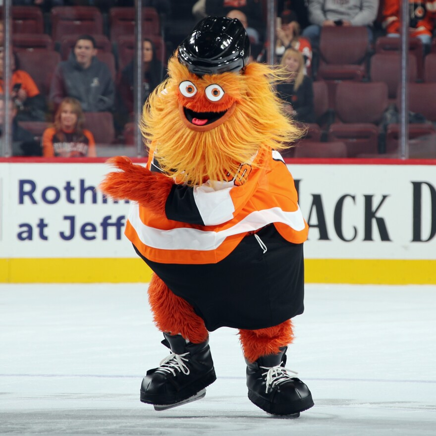 Gritty, in all his Cheeto-hued glory.
