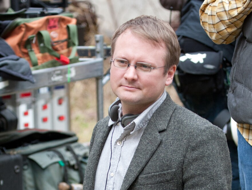Director Rian Johnson on the set of <em>Looper.</em>