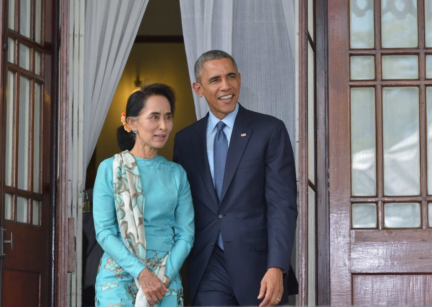 President Obama meets with Myanmar's Aung San Suu Kyi in Yangon, Myanmar, in 2014. Suu Kyi was the opposition leader at the time. She effectively became the country's leader this year, marking an end to more than a half-century of military rule.