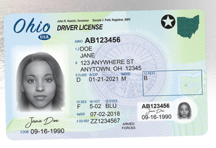 new Ohio driver license design as of July 1, 2018