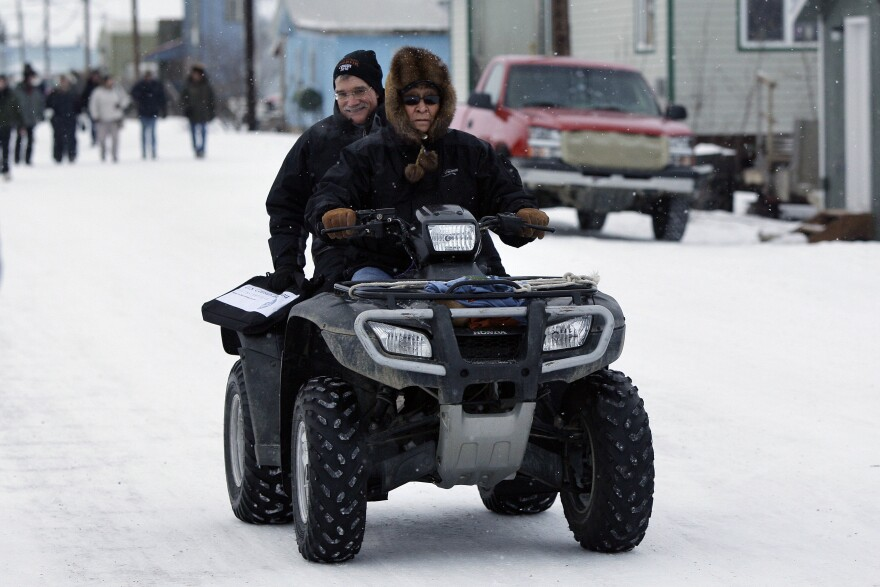 Hendy Ballot, the then-tribal administrator for the village of Noorvik, Alaska, drives Robert Groves, who headed the U.S. Census Bureau, to the home of Clifton Jackson, the first person to be counted for the 2010 census.