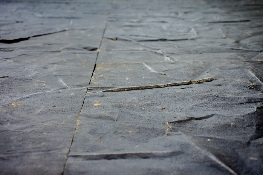 Salcedo's art space <em>Fragmentos</em> includes a floor made with tiles from tons of smelted weapons collected from the FARC rebels, in Bogotá.
