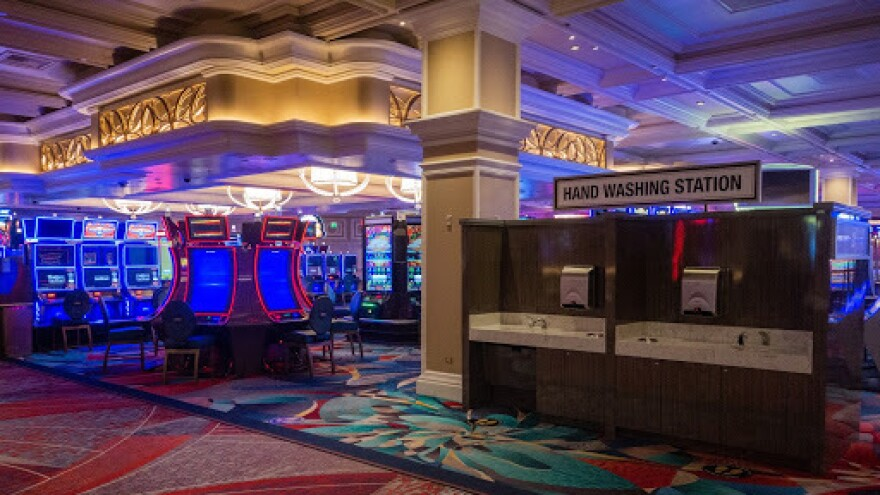 Hand washing stations now share the casino floor with slot machines at the Bellagio. It's part of a move to ramp up hygiene protocols ahead of the establishment's reopening on June 4.