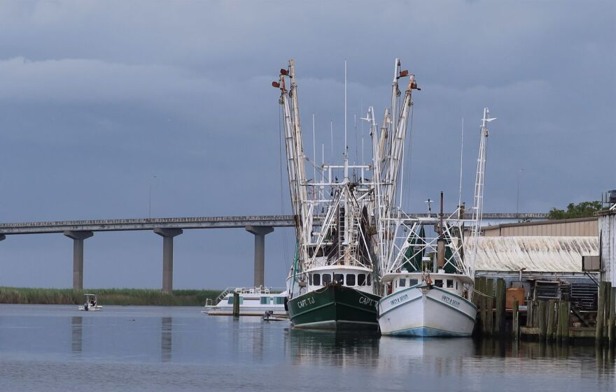Boats on waterfront of Apalachicola where the river meets the bay.