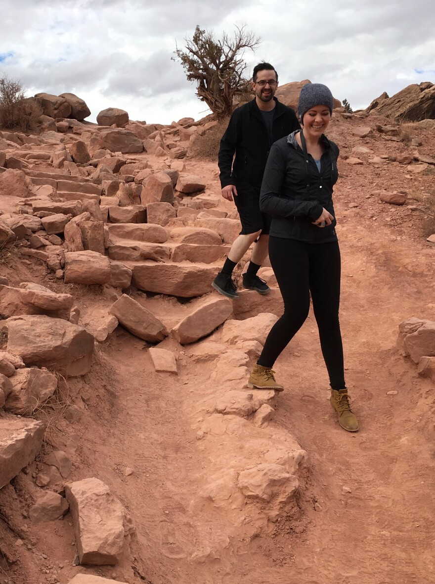 Photo of crumbling redrock steps at Arches National Park