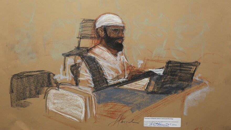 Hawsawi appears in this courtroom sketch during his arraignment as an accused Sept. 11 co-conspirator at the U.S. military court in Guantánamo Bay, Cuba, on May 5, 2012.