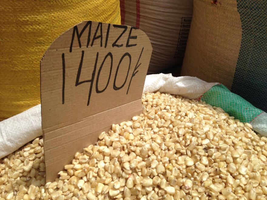 Corn seeds for sale in Owino Market, Kampala.