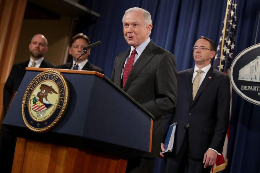 Attorney General Jeff Sessions and other law enforcement officials hold a news conference at the Department of Justice on July 20, 2017, in Washington, D.C. (Chip Somodevilla/Getty Images)