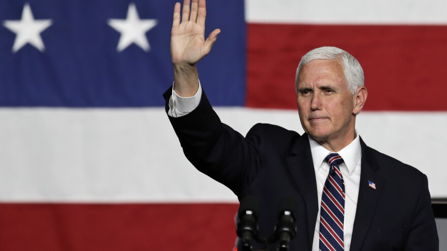 Vice President Pence waves to supporters after speaking Thursday at Lordstown Motors Corp. in Lordstown, Ohio.