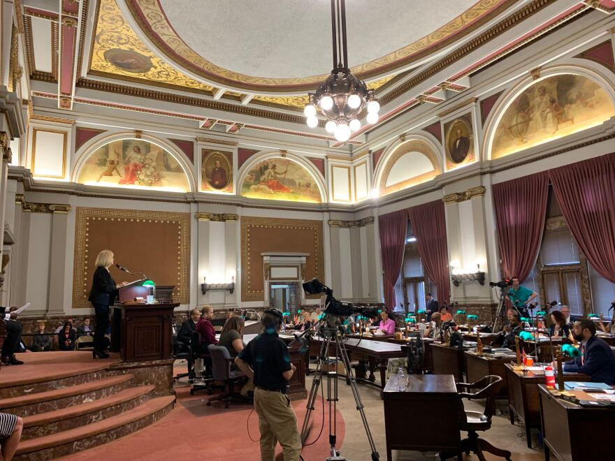 St. Louis Mayor Lyda Krewson gives her State of the City address to the Board of Aldermen on May 23, 2019.